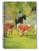 Chisholm Trail Texas Longhorn Cattle Drive Oil Painting By Kmcelwaine Spiral Notebook