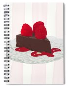 Chocolate Cake On Pink Stripes Spiral Notebook