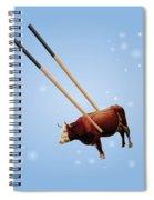 Chopsticks Cow Blue Stars Spiral Notebook