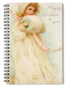 Christmas Card Depicting A Girl With A Muff Spiral Notebook