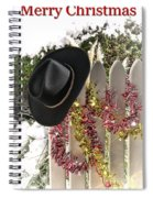 Christmas Cowboy Hat On Fence - Merry Christmas  Spiral Notebook