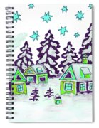 Christmas Picture In Green And Blue Colours Spiral Notebook