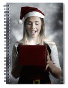 Christmas Present Girl Opening Magic Gift Box Spiral Notebook