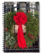 Christmas Ribbon On Iron Door Spiral Notebook