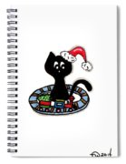 Christmas Train Kitty Cat Spiral Notebook