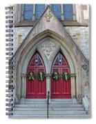Christmas Wreaths On Red Church Doors Spiral Notebook