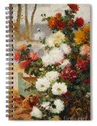 Chrysanthemums In A Walled Garden Spiral Notebook