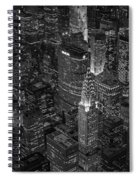 Chrysler Building Aerial View Bw Spiral Notebook