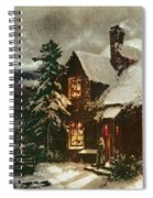 Church And Cottage With Lighted Windows Spiral Notebook