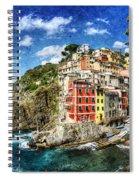 Cinque Terre - Riomaggiore From Above- Vintage Version Spiral Notebook