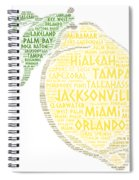 Citrus Fruit Illustrated With Cities Of Florida State Spiral Notebook