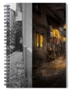 City - Germany - Alley - Coming Home Late 1904 - Side By Side Spiral Notebook