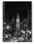 City Hall - Black And White At Night Spiral Notebook