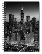 City Light Chicago B W Spiral Notebook