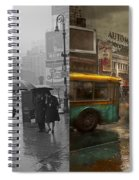 City - Ny - Times Square On A Rainy Day 1943 Side By Side Spiral Notebook