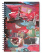 Citysacpe At Twilight  Original Abstract Colorful Landscape Painting For Sale Red Blue  Spiral Notebook