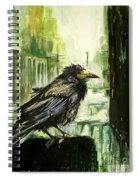 Cityscape With A Crow Spiral Notebook