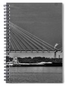 Clark Bridge And Barges In Black And White  Spiral Notebook