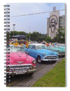 Classic Cars In Revolutionary Square Cuba Spiral Notebook