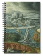 Classical Landscape With Ships Running Before A Storm Towards A Classical Harbour Probably Corinth Spiral Notebook