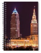 Cleveland Skyline Night Color - Downtown Buildings Spiral Notebook