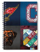 Cleveland Sports Fan Recycled Vintage Ohio License Plate Art Cavaliers Indians Browns And State Map Spiral Notebook