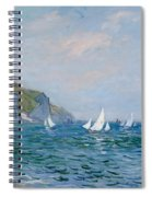 Cliffs And Sailboats At Pourville  Spiral Notebook