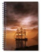 Clipper Ship At Sunset Spiral Notebook