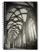 Cloisters Of Basel Munster Switzerland In Black And White  Spiral Notebook