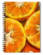 Close Up Of The Cut Section Of Some Oranges Spiral Notebook