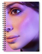 Closeup Beauty Portrait Of Woman Face In Colored Purple Light Spiral Notebook
