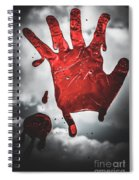 Closeup Of Scary Bloody Hand Print On Glass Spiral Notebook