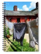 Clothes Hanging On Line Closeup Spiral Notebook