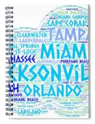 Cloud Illustrated With Cities Of Florida State Spiral Notebook