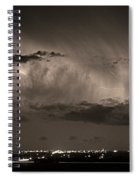 Cloud To Cloud Lightning Boulder County Colorado Bw Sepia Spiral Notebook