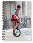Clown Riding Unicycle In Town Spiral Notebook