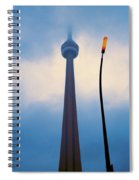 Cn Tower In Toronto With Red Streetlamp Spiral Notebook