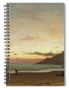 Coastal Scene With A Man And A Dog Spiral Notebook