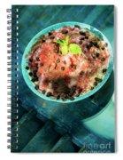 Coconut Milk Sorbet With Strawberry Sauce Vanilla Ice Cream Spiral Notebook