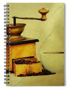 Coffee Mill And Cup Of Hot Black Coffee Spiral Notebook