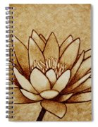 Coffee Painting Water Lilly Blooming Spiral Notebook