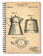 Coffee Pot Patent 1916 Sepia Spiral Notebook