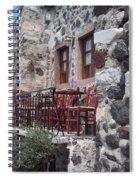 Coffee Shop In Santorini Spiral Notebook