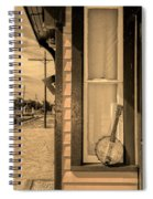 Cold Point Village Station - Banjo Mandolin In Sepia Spiral Notebook