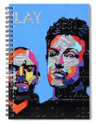 Coldplay Band Portrait Recycled License Plates Art On Blue Wood Spiral Notebook