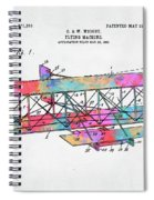 Colorful 1906 Wright Brothers Flying Machine Patent Spiral Notebook