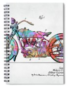 Colorful 1928 Harley Motorcycle Patent Artwork Spiral Notebook