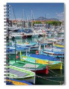Colorful Boats Docked In Nice Marina, France Spiral Notebook