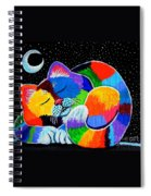 Colorful Cat In The Moonlight Spiral Notebook