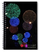 Colorful Christmas Lights Decoration Display In Madrid, Spain. Spiral Notebook